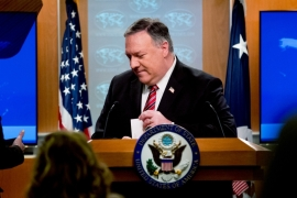 Secretary of State Mike Pompeo steps away from the podium following a news conference at the State Department [File: Andrew Harnik/AP Photo]