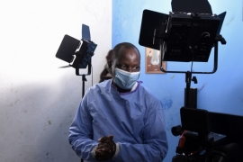 Alioune Thiam, the actor who plays Doctor Diouf, is seen during filming of the TV show in Dakar [AFP]