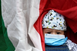 A child wearing a face mask to protect from the coronavirus outbreak in Milan, Italy [Reuters]