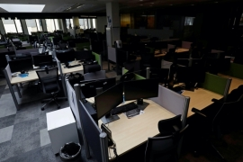An empty office is seen in Prague, Czech Republic, amid the coronavirus pandemic, May 4, 2020 [David W Cerny/Reuters]
