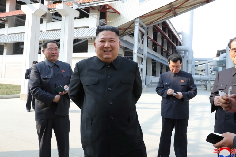 North Korean state media last published a photo of Kim after he attended the opening ceremony of a fertiliser plant on May 1 [KCNA via Reuters]