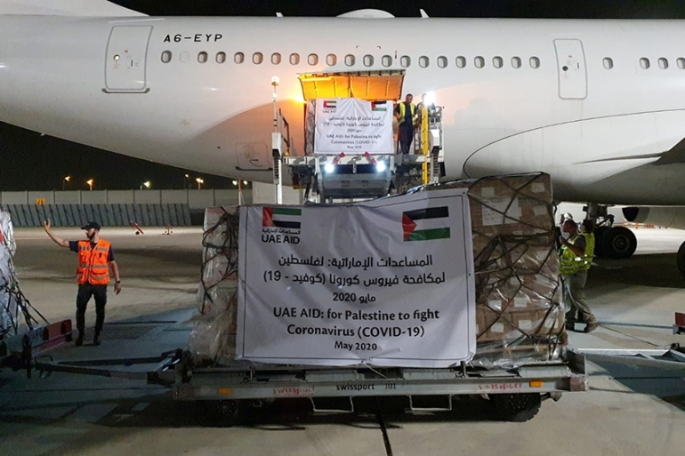 A cargo plane operated by Etihad Airways offloads aid related to the coronavirus disease for Palestinians, at Ben Gurion Airport [Israel Airports Authority via Reuters]