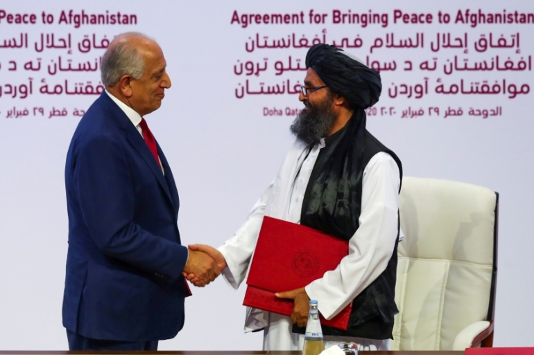 On Monday, Taliban leader Mullah Abdul Ghani Baradar met with the US envoy Zalmay Khalilzad, according to Wardak [File: Ibraheem al Omari/Reuters]