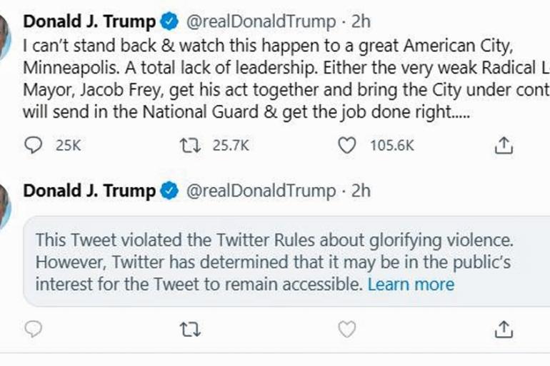Twitter Flags And Hides Trump S Tweet That Glorified Violence Donald Trump News Al Jazeera