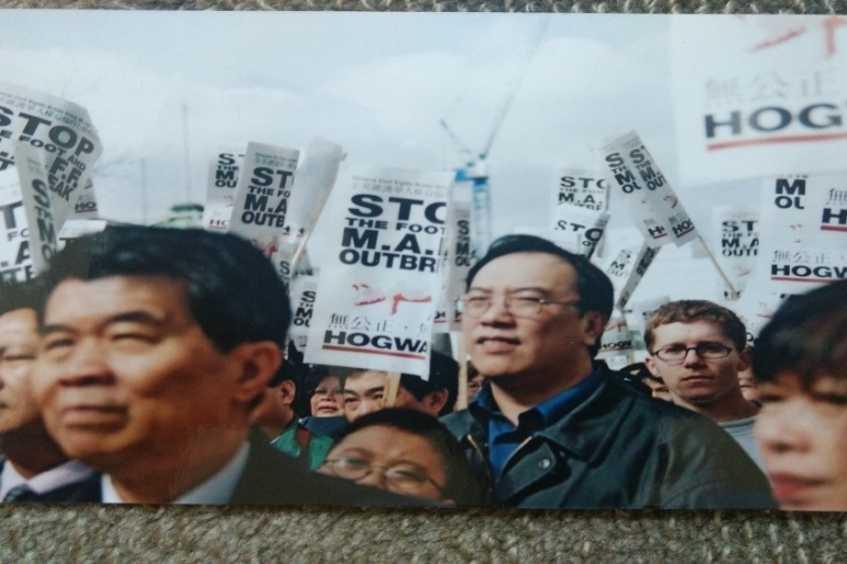 On April 8, 2001, about 1,000 members of the UK's Chinese diaspora protested against false allegations that foot-and-mouth originated in China, charges which led to racist attacks [Courtesy Sarah Yeh]