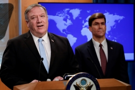 US Secretary of State Mike Pompeo said the sustained campaign of sanctions is to 'hold the Assad regime and its foreign enablers accountable'  [Yuri Gripas/Pool/Reuters]