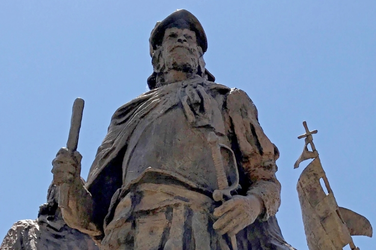 Statues of Don Juan de Onate, a 16th century Spanish conquistador, have been a source of criticism for decades [Susan Montoya Bryan/AP]