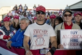 "A member of the audience wears a shirt that reads ""Proud to Be A Trump Deplorable"" as President Trump speaks at a rally in Murphysboro, Illinois,US Oct 27, 2018 [AP Photo/Andrew Harnik]   [Daylife]"