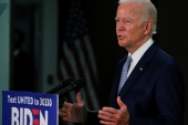 US Democratic presidential candidate Joe Biden speaks during a campaign event in Dover, Delaware on June 5, 2020 [Jim Bourg/Reuters]