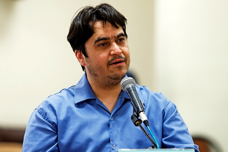 In this June 2, 2020 photo, journalist Ruhollah Zam speaks during his trial at the Revolutionary Court, in Tehran [File: Ali Shirband/Mizan News Agency via AP Photo]
