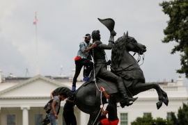 Jackson's ruthless treatment of Native Americans has made his statue a target of demonstrators [Reuters]