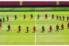 The picture of 29 players from the English Premier League leaders was taken during a training session. [Andrew Powell/Liverpool FC/Twitter]