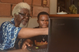 Architect Demas Nwoko and his intern Ibim Cookey at his home office in Idumuje-Ugboko, Nigeria [Photo courtesy of Rufus Nwoko]