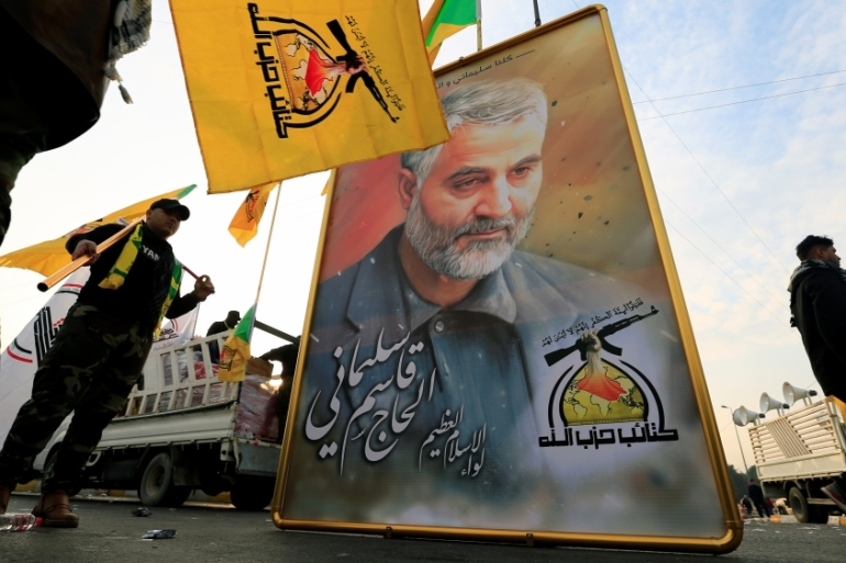 Iranian General Qassem Soleimani was killed in a US drone strike near Baghdad airport in Iraq in January 2020 [Thaier al-Sudani/Reuters]