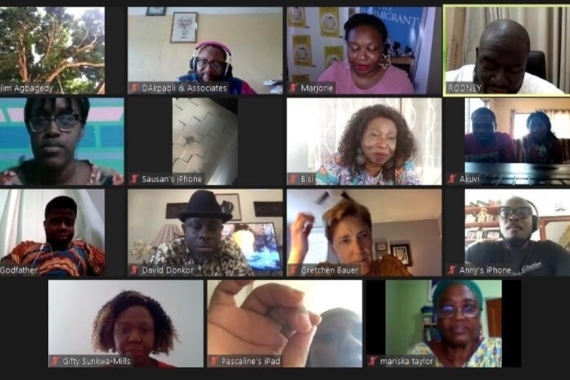 Authors gathered on Zoom at the start of Ghana's National Readathon [Bisi Adjapon/Al Jazeera]