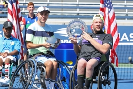 Andy Lapthorne of Great Britain and Dylan Alcott of Australia won the men's doubles event last year [File: Elsa/Getty Images/AFP]
