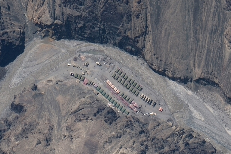 Maxar WorldView-3 satellite image shows the PLA (China's People's Liberation Army) Base in Galwan Valley on May 22 [Maxar Technologies via Reuters]