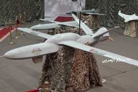 Drone aircraft on display at an unidentified location in Yemen [File: Houthi Media Office/Handout via Reuters]