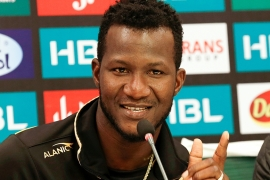 Daren Sammy gestures during a news conference in Rawalpindi, Pakistan in this March 5, 2020 photo [File: Anjum Naveed/AP]