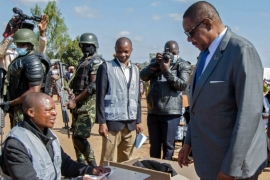 President Peter Mutharika, in power since 2014, is seeking a second term in office [Ernest Mwale/Reuters]