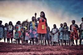 Indigenous women leaders are seen at a gathering aiming to raise awareness about the threats facing the Amazon rainforest, in Piaracu, Brazil, Jan 2020. [Federico Cruz/Culture Hack Labs]