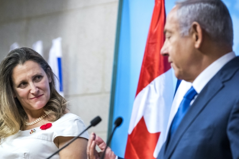 During a 2018 visit to Israel, Canada's then Foreign Minister Chrystia Freeland said Canada would serve as an 'asset to Israel' if it secures a seat at the UNSC [Jim Hollander/Pool via AP]