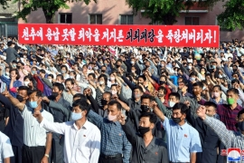 North Korea is angry at the activists, mostly defectors, in South Korea who send leaflets across the border by balloon. It has cut the hotline between the two countries and state television has shown protests of workers and trade union members [KCNA via Reuters]
