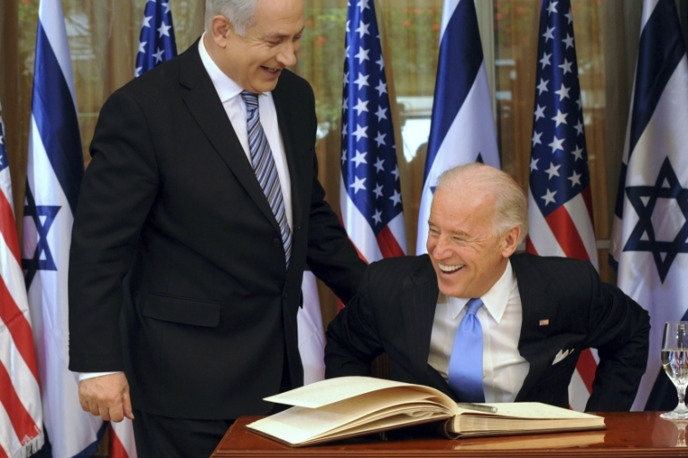 In this 2010 file photo, Israel's Prime Minister Benjamin Netanyahu is seen laughing with then United States Vice President Joe Biden in Jerusalem [File:Debbie Hill/Reuters]