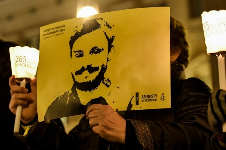 More than four years after the murder of Giulio Regeni, no arrest has been made, nor any suspect charged in connection with the killing [File: Andreas Solaro/AFP]