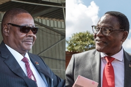 Peter Mutharika, left, of the Democratic Progressive Party, and Lazarus Chakwera, leader of the Malawi Congress Party [File: AFP]