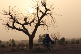A woman in an arid field on the outskirts of Ouagadougou, which used to be fertile farmland [Sam Mednick/Al Jazeera]
