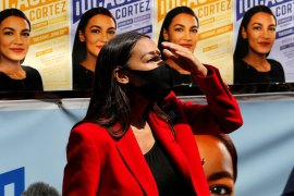US Representative Alexandria Ocasio-Cortez is gathering support from progressive Democrats in the US Congress for withholding future US military aid to Israel if the Netanyahu government pushes through planned annexation of Palestinian territories [Mike Segar/Reuters]