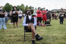 Residents and visitors commemorating the 1921 Greenwood Massacre and marking Juneteenth in Tulsa, Oklahoma, United States, where large companies have rushed to show support for African Americans following the death of George Floyd [File: Matthew Hatcher/Bloomberg]