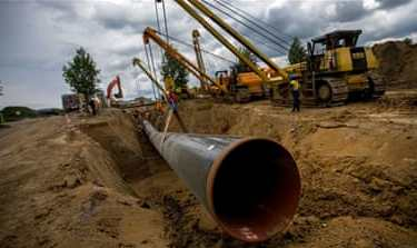 The 1,200km (745 mile) pipeline under the Baltic Sea, designed to pump Russian gas directly to Germany, has triggered deep division between EU member states [File: Krisztian Bocsi/Bloomberg]