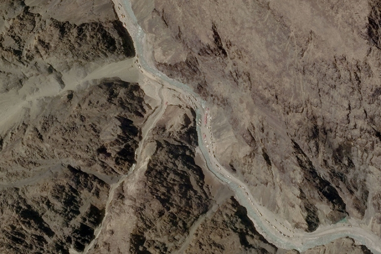 A satellite image taken over Galwan Valley in Ladakh, India, parts of which are contested with China [File: Planet Labs Inc via Reuters]