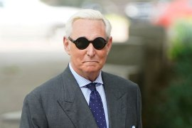 Facebook has taken down the pages of Roger Stone, who is a longtime political ally of US President Donald Trump and who is now facing three years of jail time for lying to the authorities, obstructing a congressional investigation and witness intimidation [File: Joshua Roberts/Reuters]