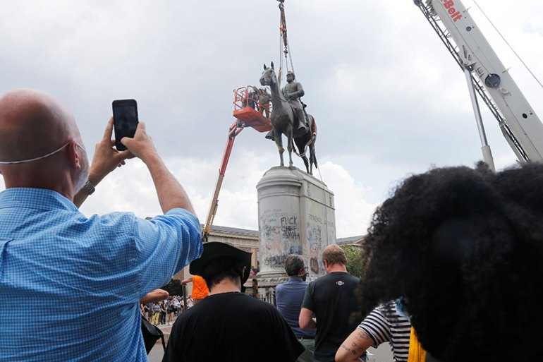 Richmond Mayor Levar Stoney ordered the immediate removal of all Confederate statues in the city, saying he was using his emergency powers to speed up the healing process for the former capital of the Confederacy amid weeks of protests about police brutality and racial injustice [Steve Helber/AP]