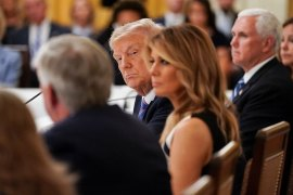 United States President Donald Trump and First Lady Melania Trump hosted an event on reopening schools amid the coronavirus pandemic [Kevin Lamarque/Reuters]