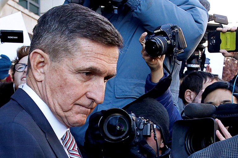 Michael Flynn was the national security adviser to United States President Donald Trump for 24 days, and was forced to step down after he misled the vice president over his dealings with the Russian ambassador to Washington, DC [File:Joshua Roberts/Reuters]