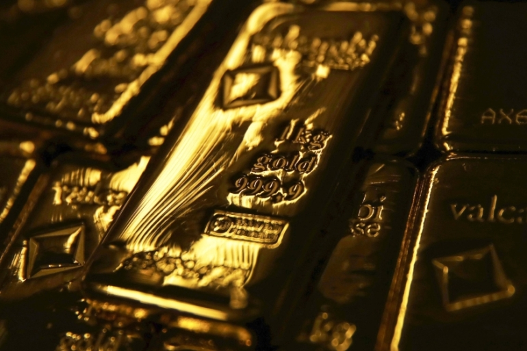 Bullion's gains for the year now stand at about 25 percent, as investors bought the metal as a hedge against a coronavirus-driven global slowdown [File: Stefan Wermuth/Bloomberg]