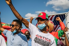 Members of the Oromo community march in St Paul, Minnesota, on July 8, 2020, in protest over the death of musician Hachalu Hundessa [File: Brandon Bell/Getty Images/AFP]