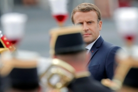 Macron said he was pushing back a decision on a troop reduction [Christophe Ena/Reuters]