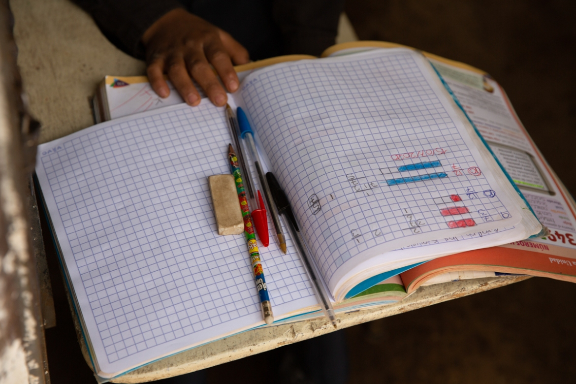 Oscar Rojas, 11, readies his notebooks, pens and pencils, as he prepares for the arrival of his teacher. [Moises Castillo/AP Photo]