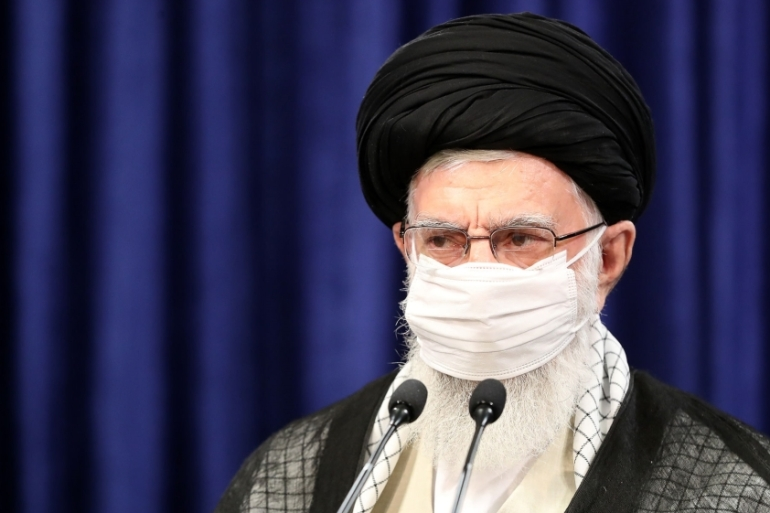 Ayatollah Ali Khamenei says US sanctions are a 'crime' that have led to increased national self-reliance in Iran [Iranian leader press office/Anadolu Agency]