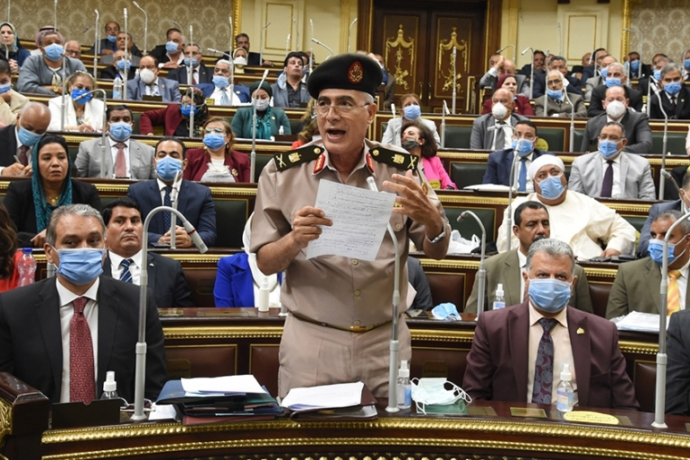 Egyptian General Mamdoh Shahen during the parliamentary debate session on the deployment of troops outside the country [Khaled Mashaal/EPA]