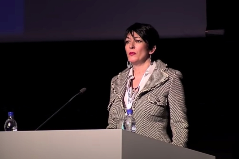 Ghislaine Maxwell speaks at the Arctic Circle Forum in Reykjavik, Iceland in October 2013; she is now in a Brooklyn prison [File: The Arctic Circle/Handout via Reuters]