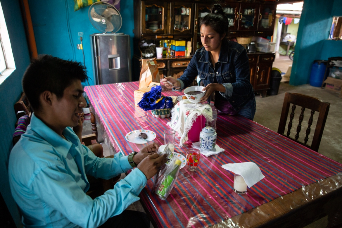 Ixcoy and his wife, Yessika Lopez, in their home in Santa Cruz del Quiche. [Moises Castillo/AP Photo]