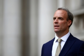 Britain's Foreign Secretary Dominic Raab makes a statement on Hong Kong's national security legislation in London [File: Hannah McKay/Reuters]