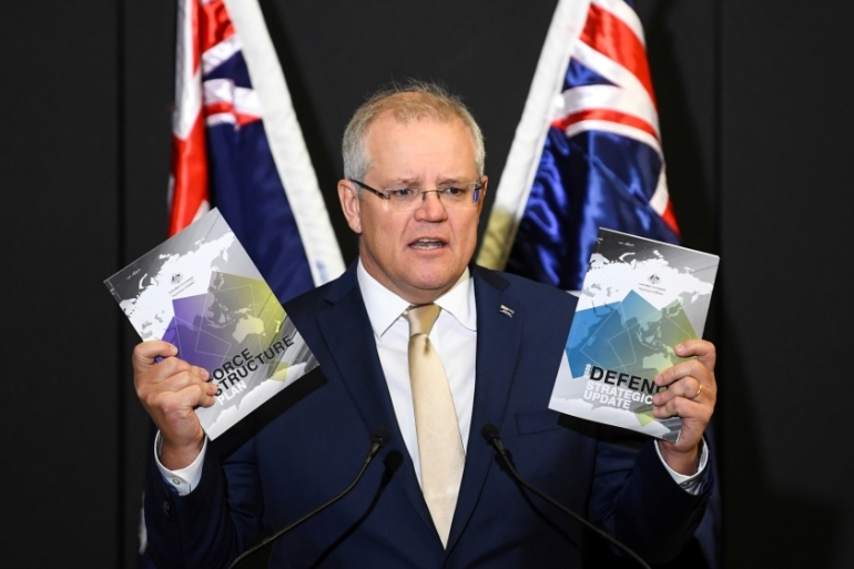 Australia's Prime Minister Scott Morrison speaks during the launch of the 2020 Defence Strategic Update [Lukas Coch/ AAP via Reuters]