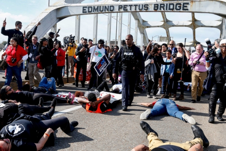For decades the Edmund Pettus Bridge in Selma, Alabama has been a protest site [File: Butch Dill/AP Photo]